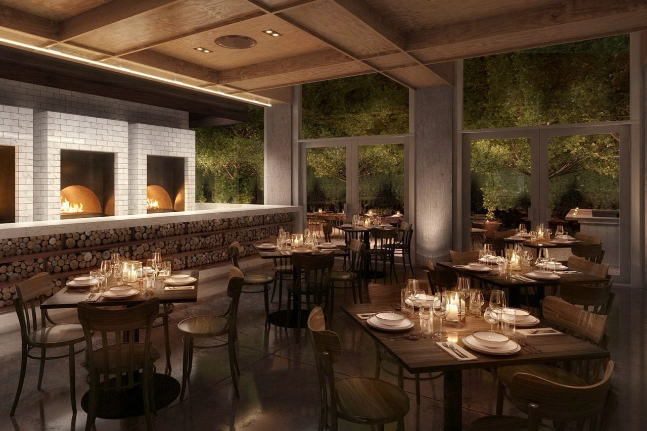 a group of custom SENTIENT contemporary designed wood tables and chairs in luxury Christie restaurant