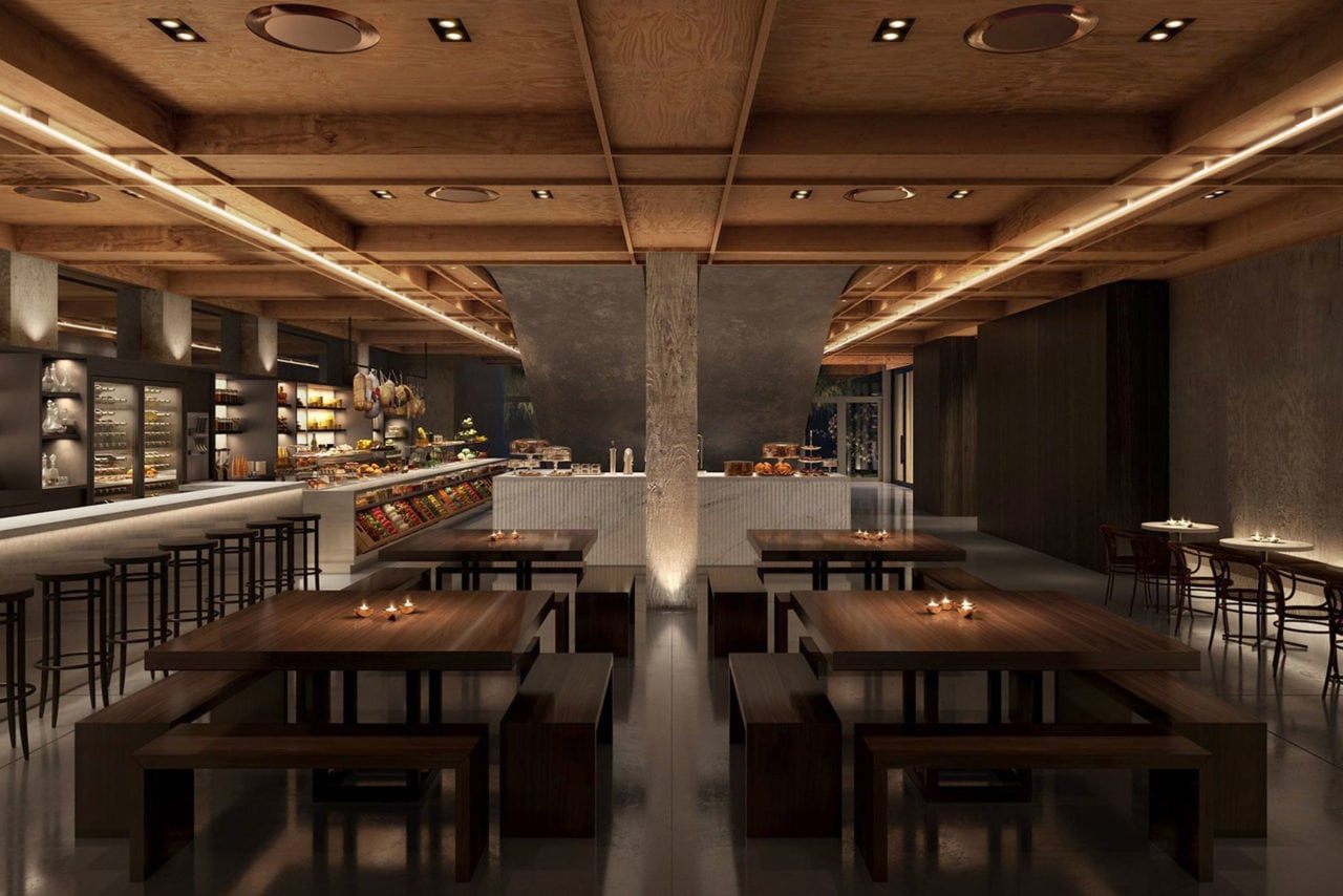 in a restaurant setting at the public hotel in New York SENTIENT contemporary designed custom wood tables and benches