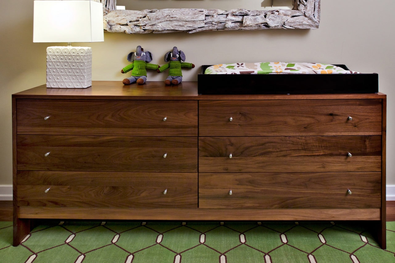a SENTIENT contemporary designed custom solid wood dresser in walnut wood with six drawers and chrome drawer pulls