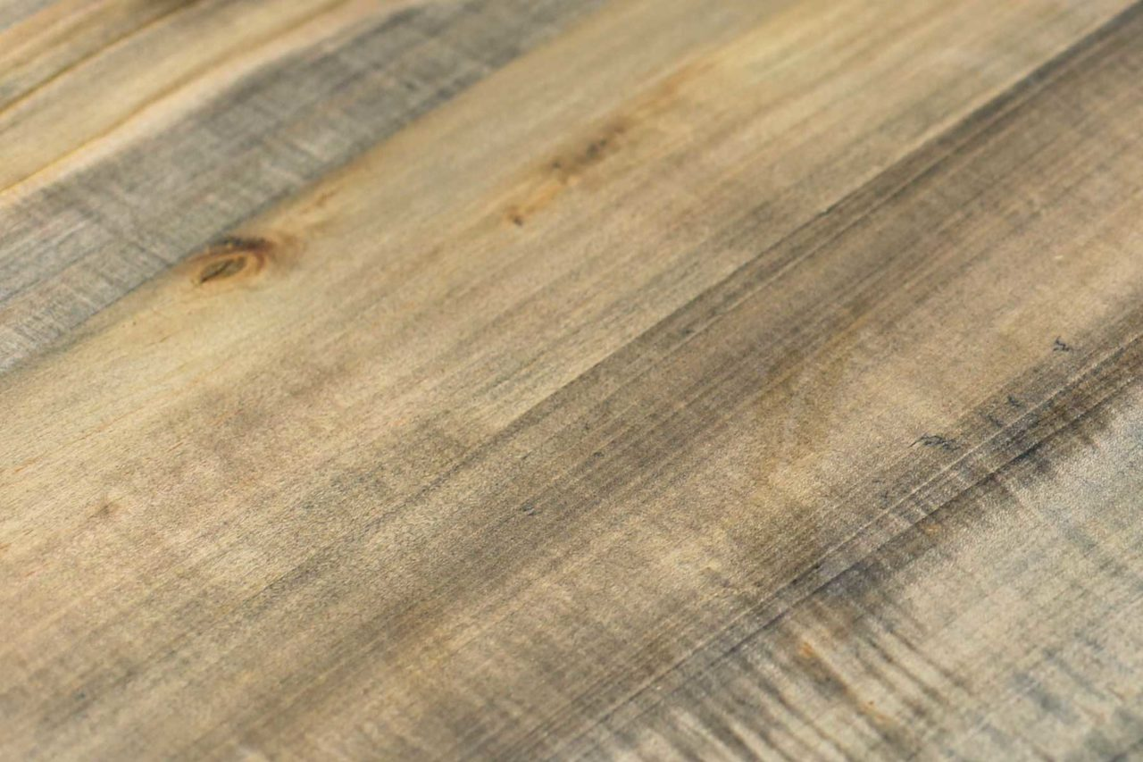 a driftwood solid SENTIENT maple wood grain detail with grey washed tones