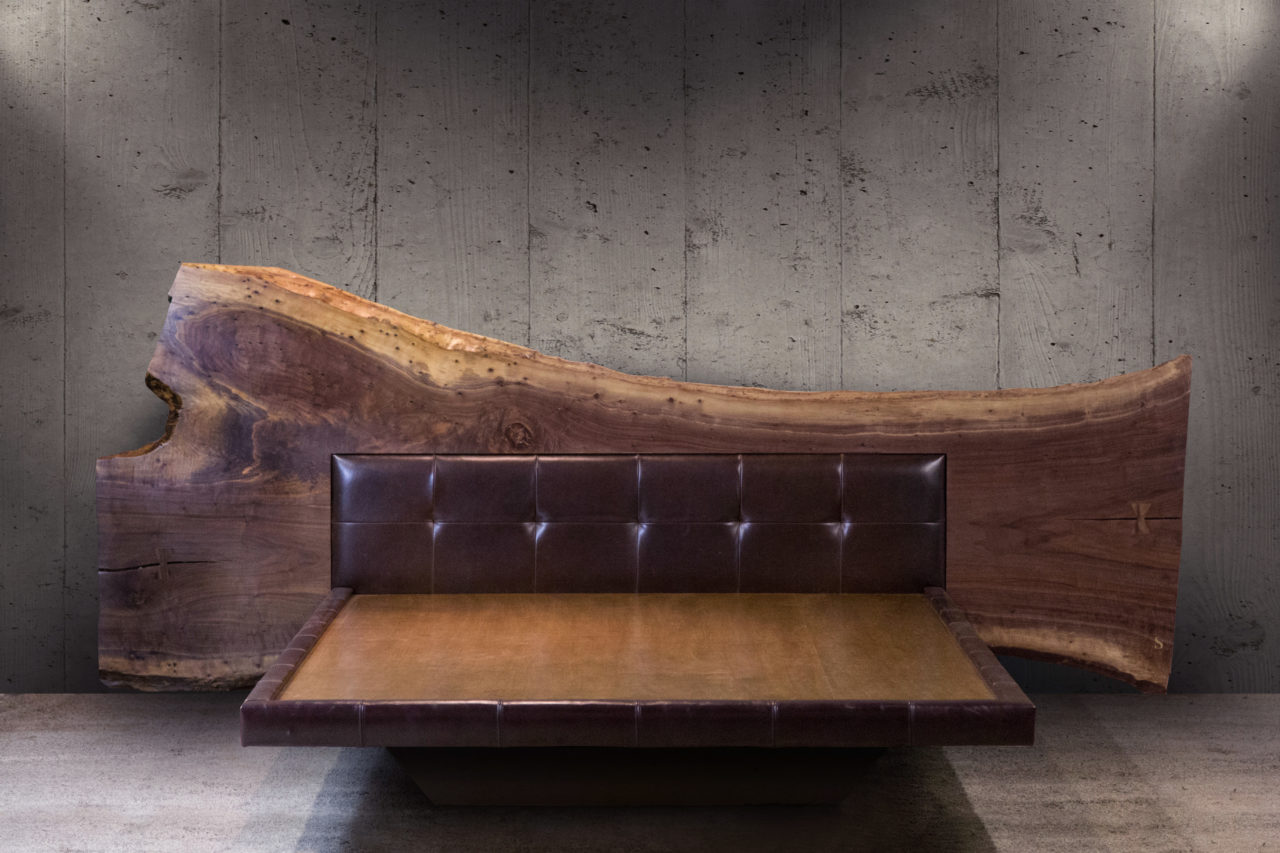 a SENTIENT contemporary designed live edge wood headboard platform bed with custom brown luxury leather fontal view