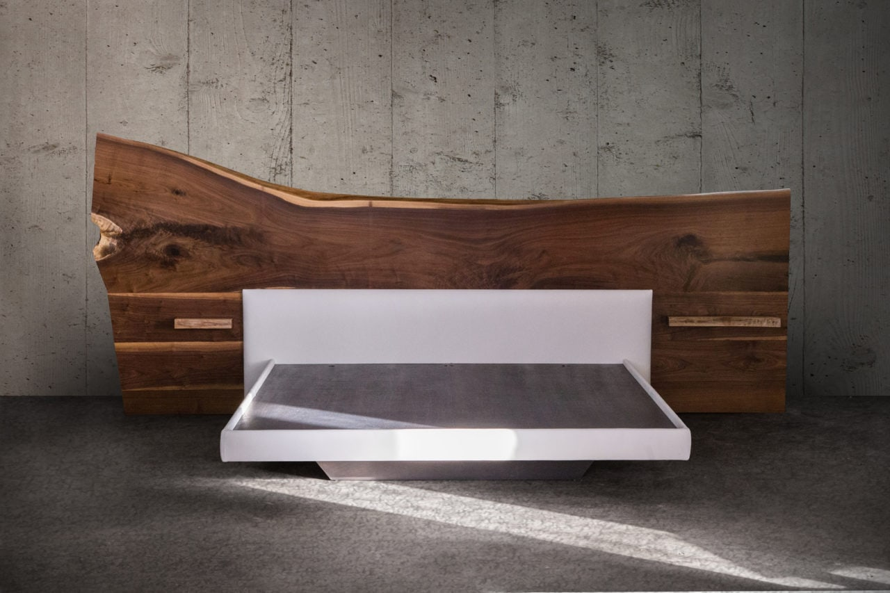 a SENTIENT contemporary designed live edge wood headboard platform bed with custom white luxury leather frontal view