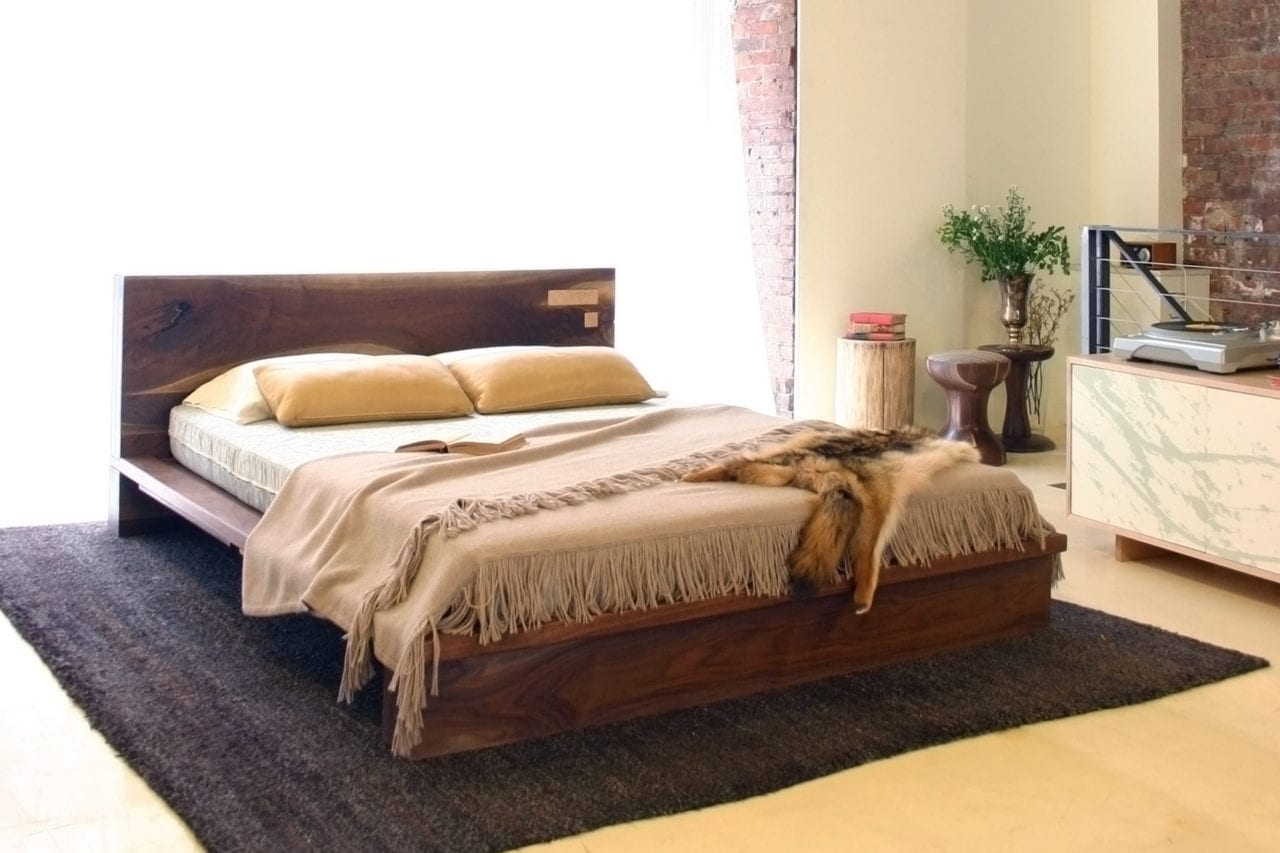 a SENTIENT contemporary Liffey Bed with custom wood headboard and platform with luxury bedding