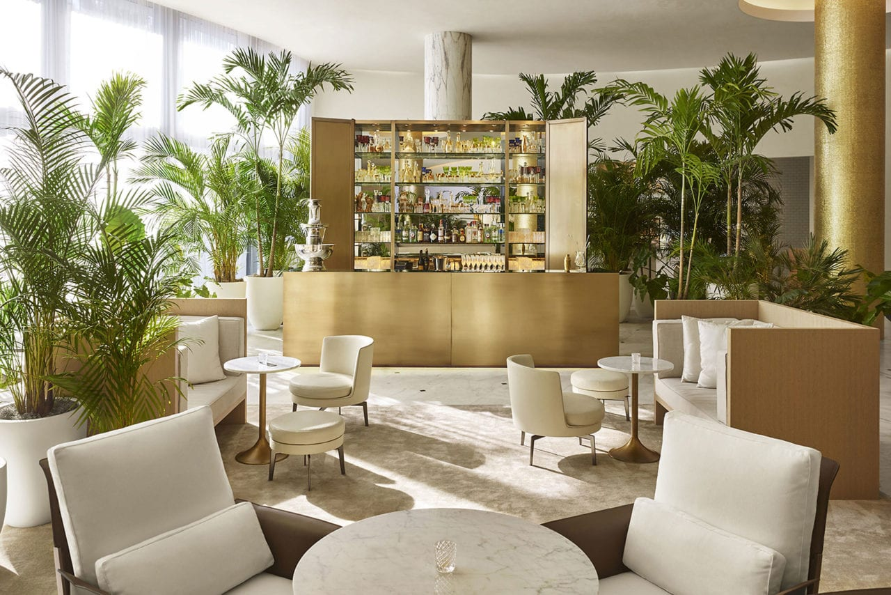 custom SENTIENT contemporary designed wood and luxury upholstered furniture in Miami edition hotel lounge