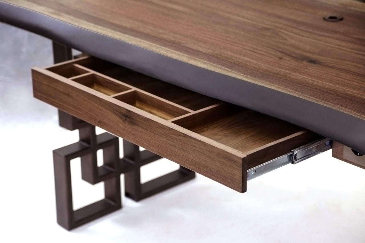 a contemporary designed SENTIENT live edge wood custom desk detail view with open pencil drawer